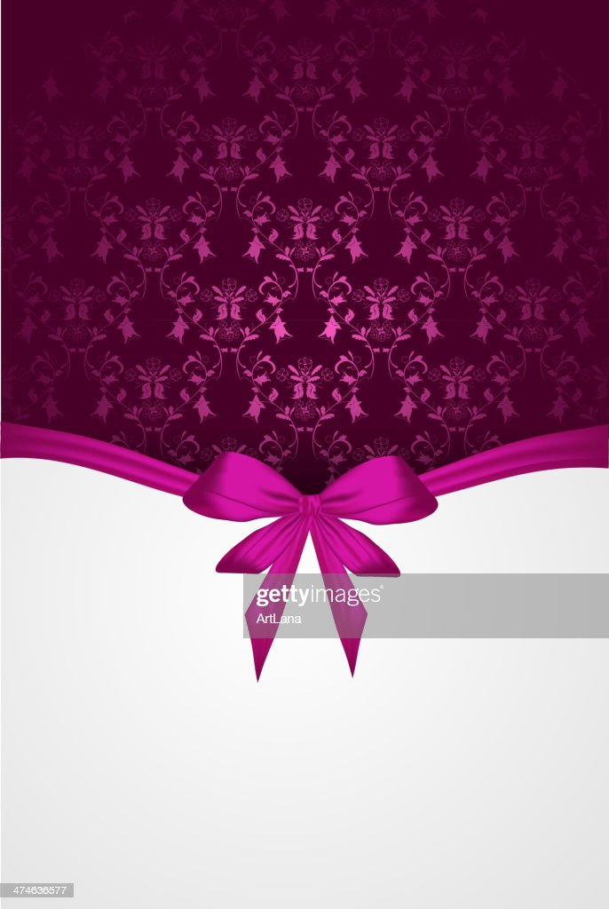 Damask vertical background with ribbon bow