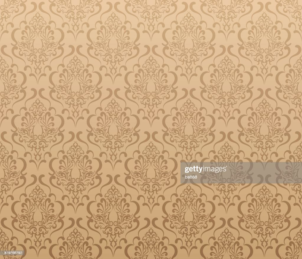 Damask wallpaper, brown color, vector art