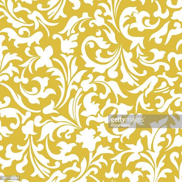 damask wallpaper pattern - illustration - baroque style stock illustrations