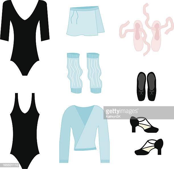ilustraciones, imágenes clip art, dibujos animados e iconos de stock de clase de baile accesorios - zapatilla de ballet