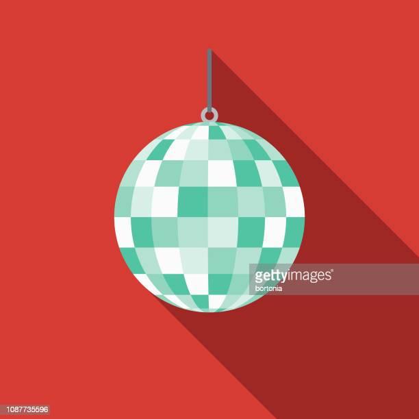 dance flat design prom icon - disco ball stock illustrations
