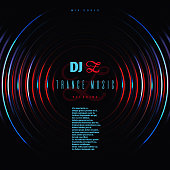 Dance music club party vector poster with dj mixing vinyl disc