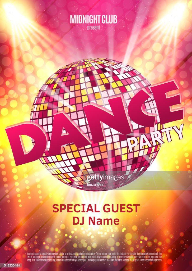 Dance Party Poster Background Template - Vector Illustration. Disco ball
