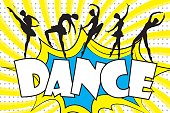 Dance - text in retro comic style and black silhouettes