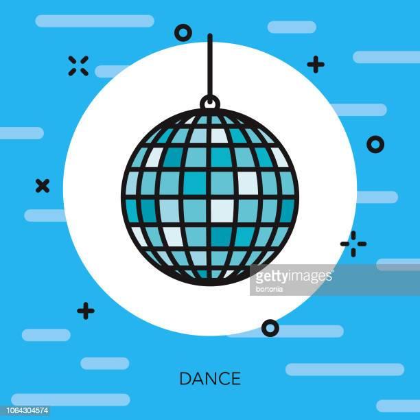 dance thin line arts icon - disco ball stock illustrations