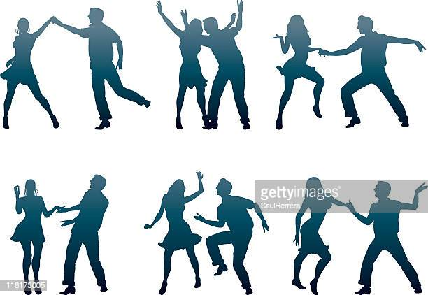 dancer couples - conga dancing stock illustrations, clip art, cartoons, & icons