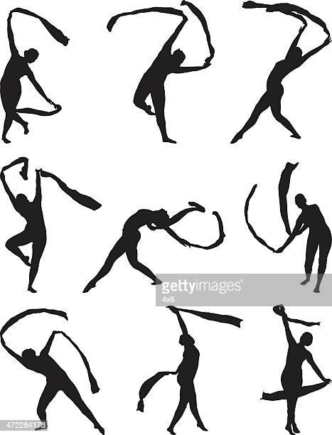 dancer dancing with ribbons - contortionist stock illustrations