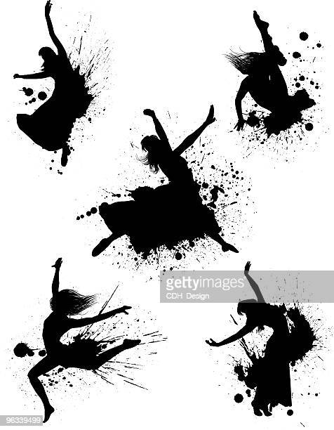 dancer splatters - dancing stock illustrations