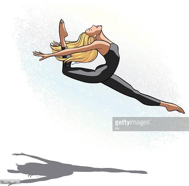 ilustraciones, imágenes clip art, dibujos animados e iconos de stock de bailarina mujer del salto del - baile moderno