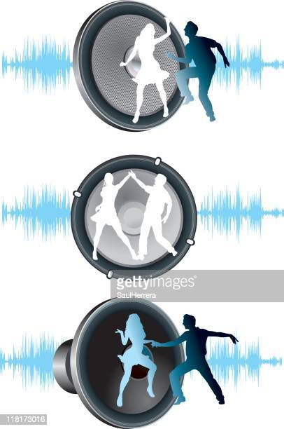 dancers and speakers - conga dancing stock illustrations, clip art, cartoons, & icons
