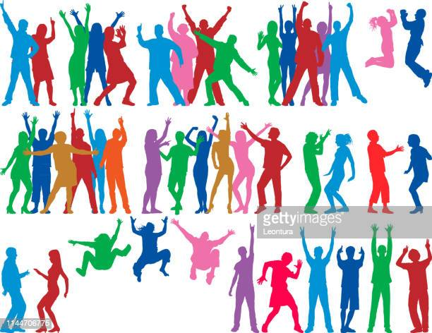 dancers (all people are complete and moveable) - cheerful stock illustrations