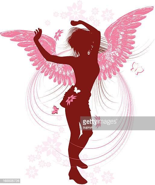 ilustraciones, imágenes clip art, dibujos animados e iconos de stock de baile ángel, sihouette - alas de angel
