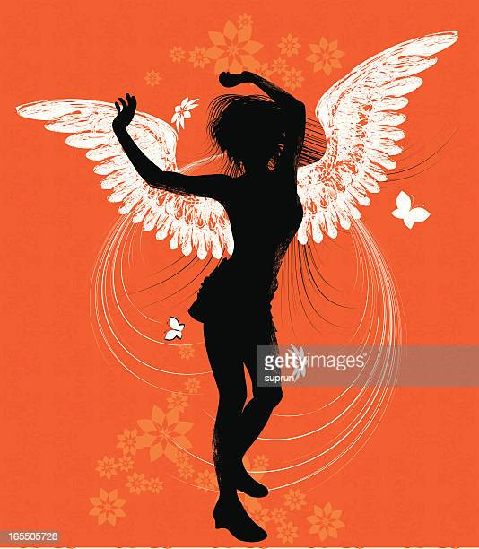 dancing angel, sihouette - one teenage girl only stock illustrations