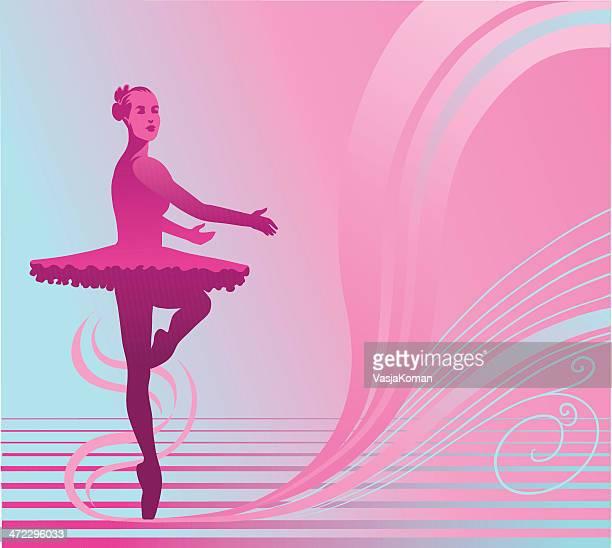ilustraciones, imágenes clip art, dibujos animados e iconos de stock de baile ballerina en azul y fondo rosa - zapatilla de ballet
