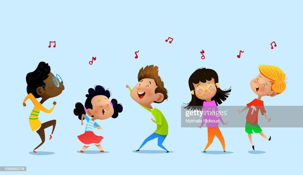 Dancing cartoon children.