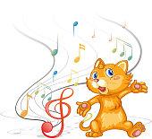 Dancing cat with musical symbols