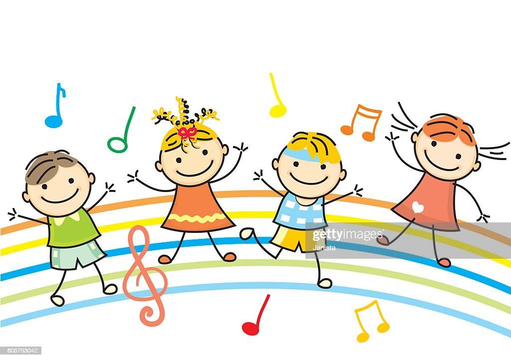 dancing children, vector icon