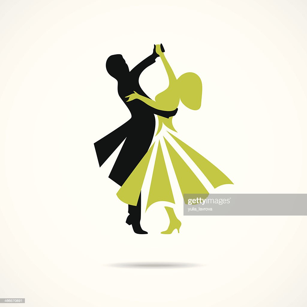 Dancing couple isolated on a white background