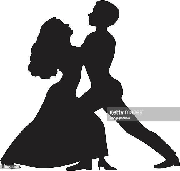 ilustraciones, imágenes clip art, dibujos animados e iconos de stock de baile pareja en silueta - bailar un vals