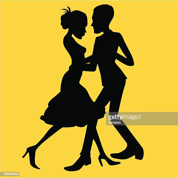 dancing couple - latin american dancing stock illustrations, clip art, cartoons, & icons