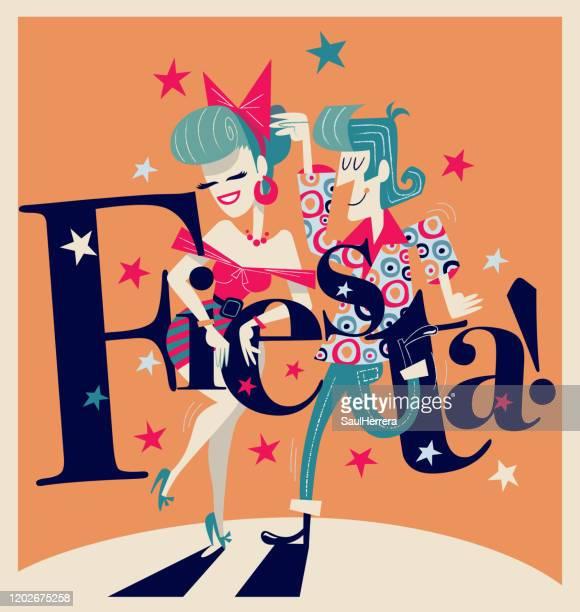 stockillustraties, clipart, cartoons en iconen met dansend paar met fiestatekst - vaseline