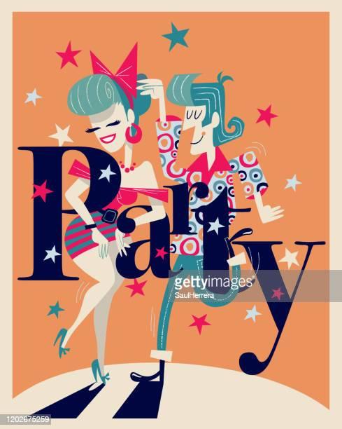stockillustraties, clipart, cartoons en iconen met dansend paar met de tekst van de partij - vaseline