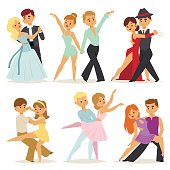Dancing couples romantic person and people dance man with woman entertainment together beauty vector illustration