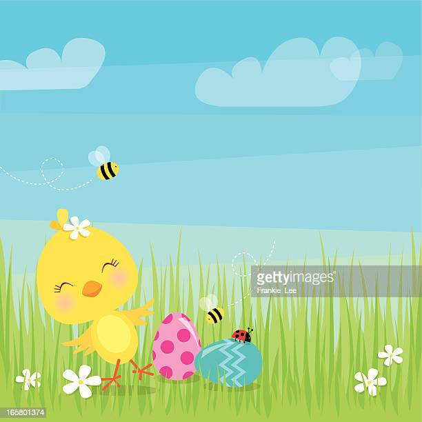 dancing easter chick - easter stock illustrations