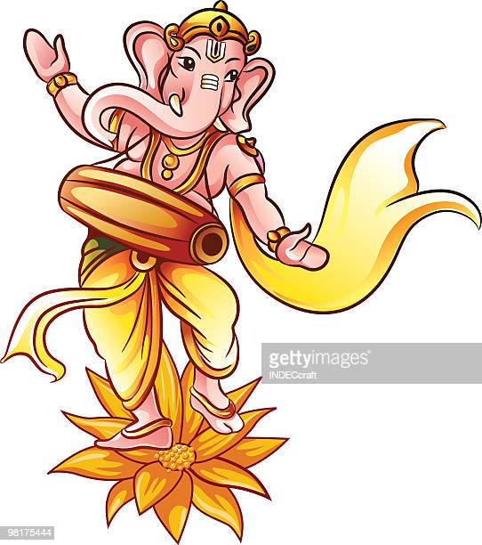 dancing ganesha - ganesha stock illustrations