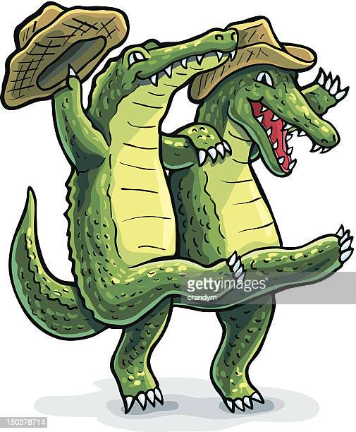 dancing gators - alligator stock illustrations, clip art, cartoons, & icons