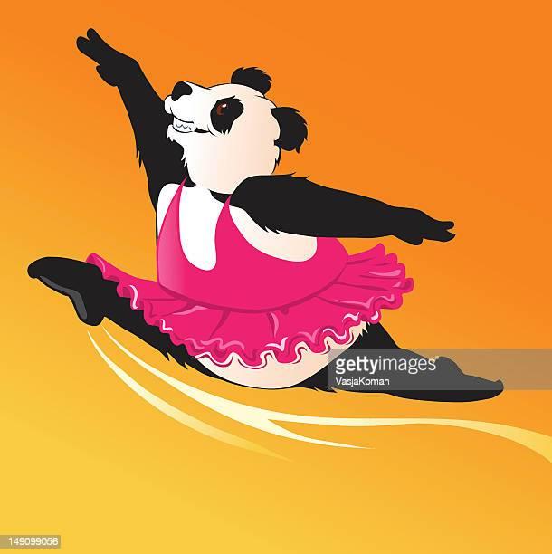 illustrations, cliparts, dessins animés et icônes de danse panda géant dans le tutu rose ballerine - dancing bear