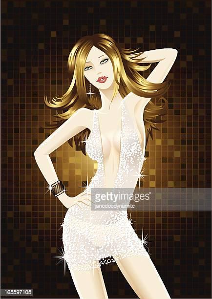 Tanz Mädchen, trägt ein Kleid mit Diamantenmotiv