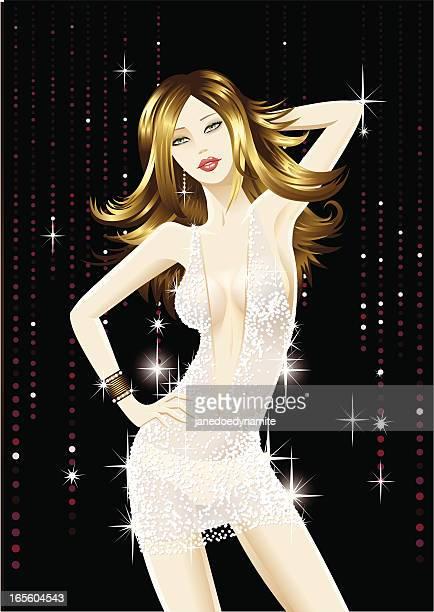 dancing girl wearing a diamond dress