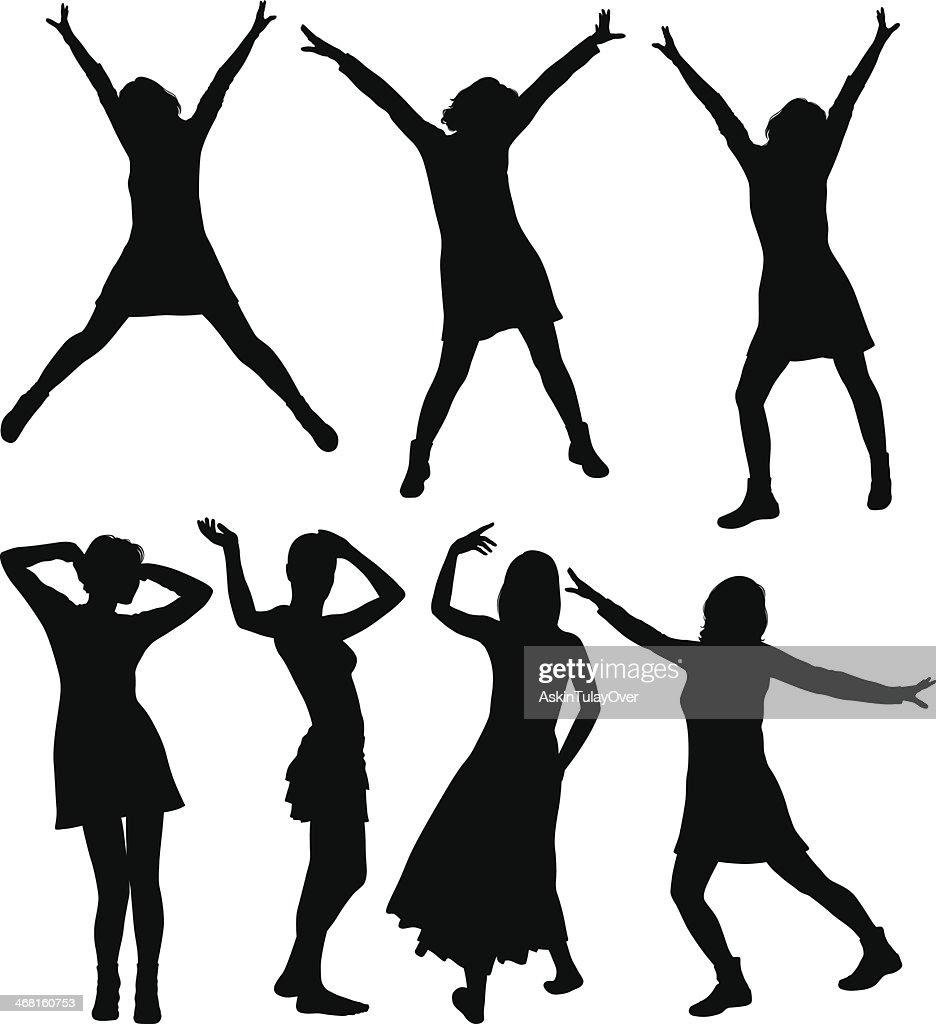 Chicas bailando : Ilustración de stock