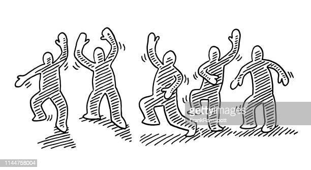 ilustraciones, imágenes clip art, dibujos animados e iconos de stock de danza humana figuras movimiento dibujo - agilidad