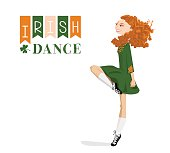 Dancing Irish girl in traditional dress. St. Patrick's Day.