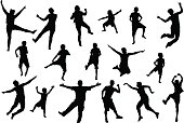 Dancing, jumping childrens and adult people, beach party silhouette set