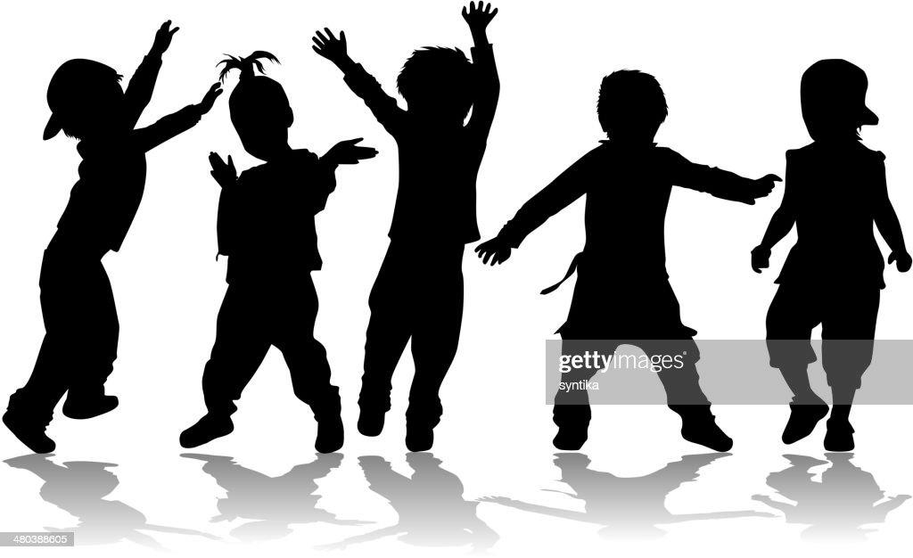 Dancing kids - black silhouettes.