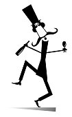 Dancing long mustache man in the top hat with bottle of wine and footed tumbler isolated illustration