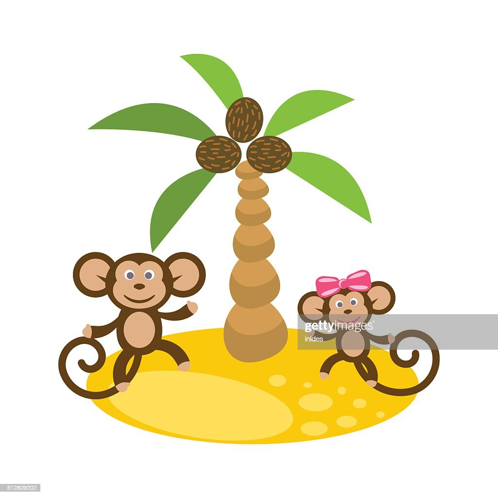 Dancing monkey couple near coconut palm tree clip art