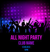 Dancing night club event poster template