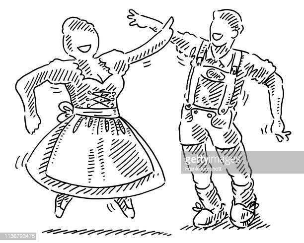 Tanzen Oktoberfest-Paar ziehen