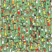 Dancing party seamless pattern