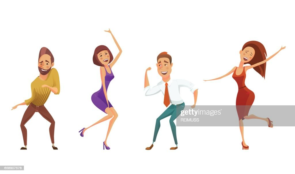 Dancing people funny cartoon style icons collection, isolated vector illustration.