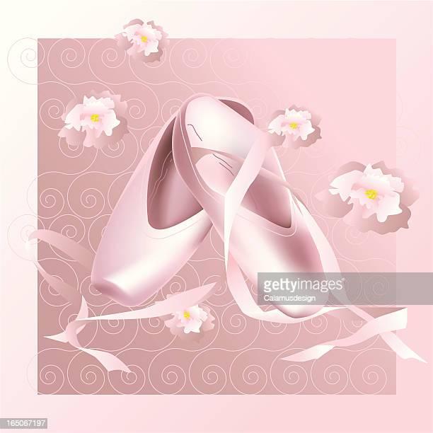 ilustraciones, imágenes clip art, dibujos animados e iconos de stock de zapatillas de baile - zapatilla de ballet