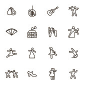 Dancing Signs Black Thin Line Icon Set. Vector