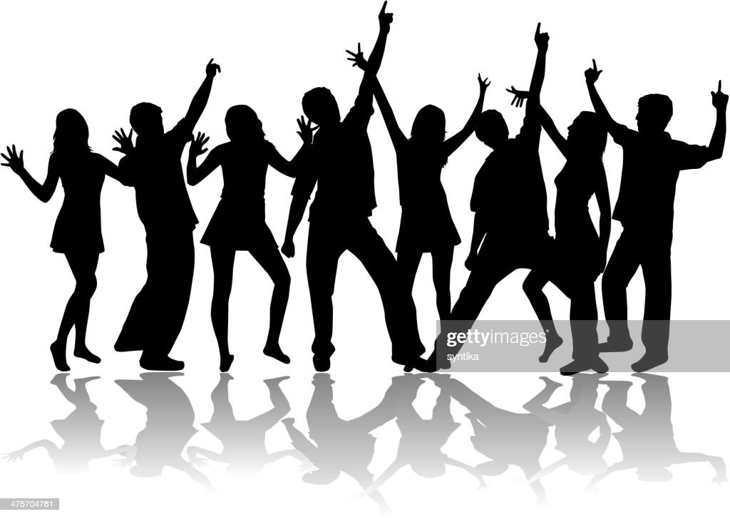 Dancing silhouettes on white background