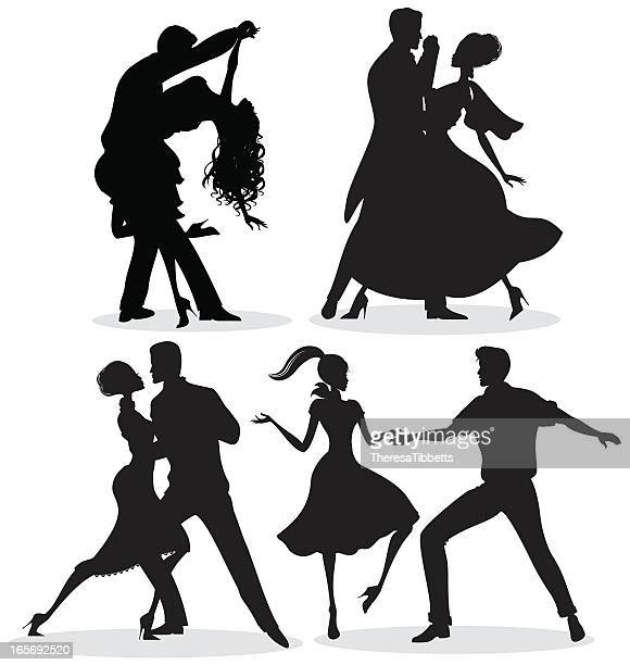 dancing silhouettes - salsa music stock illustrations, clip art, cartoons, & icons