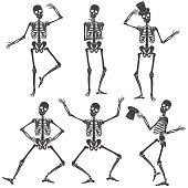 Dancing Skeletons. Different skeleton poses isolated.