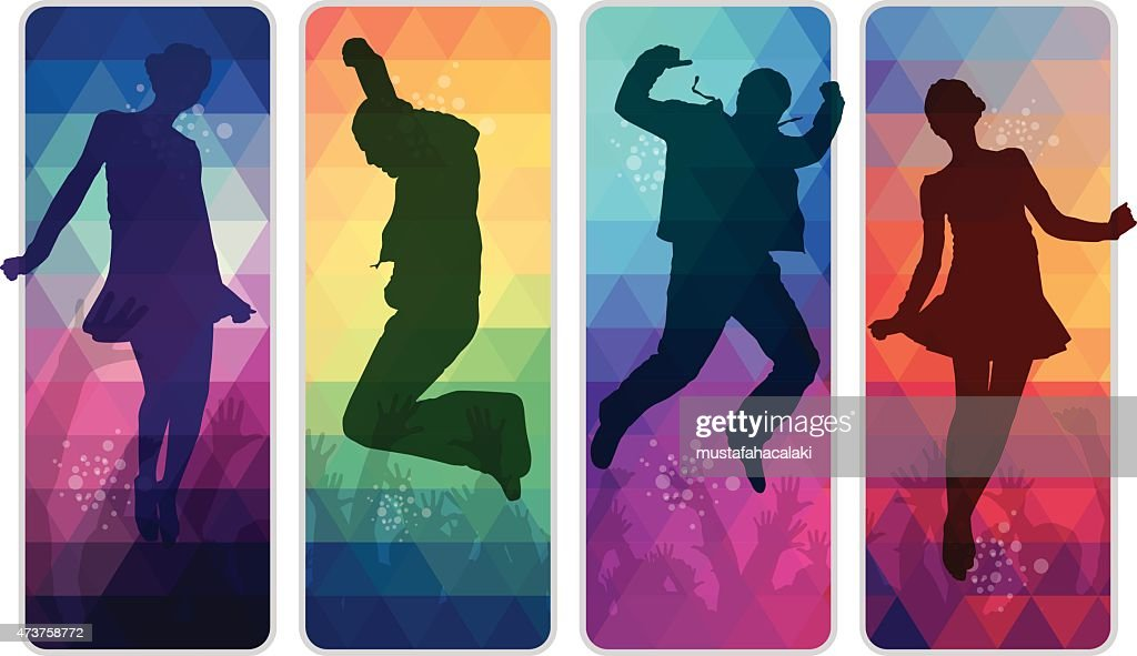 Dancing teenagers on colourful mosaic placards : stock illustration